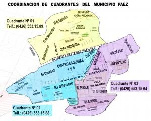 Distribución de los cuadrantes del Municipio Páez.