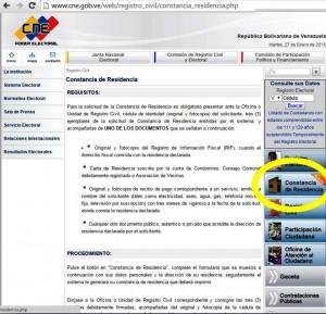 La opción para descargar la carta de residencia está ubicada en la pestaña lateral derecha del site web del CNE.